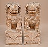 Pair of oversized painted carved wood foo dogs, 35