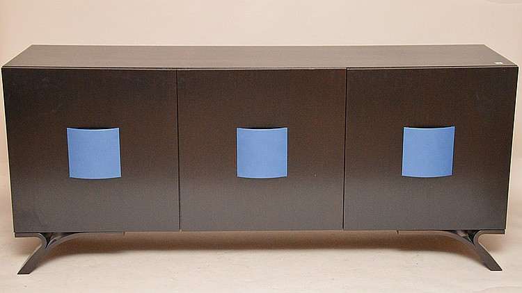 Black sideboard with blue accented handles and 3 doors revealing fitted interior, Dakota Jackson label on back, 34