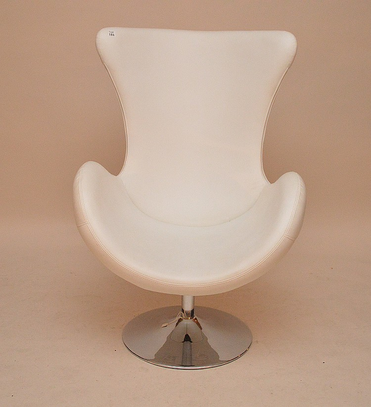 White leather egg chair, 45