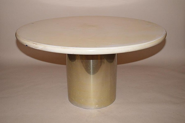 Table with Chrome round pedestal with laminate top and with 6 red leather and chrome chairs, 30
