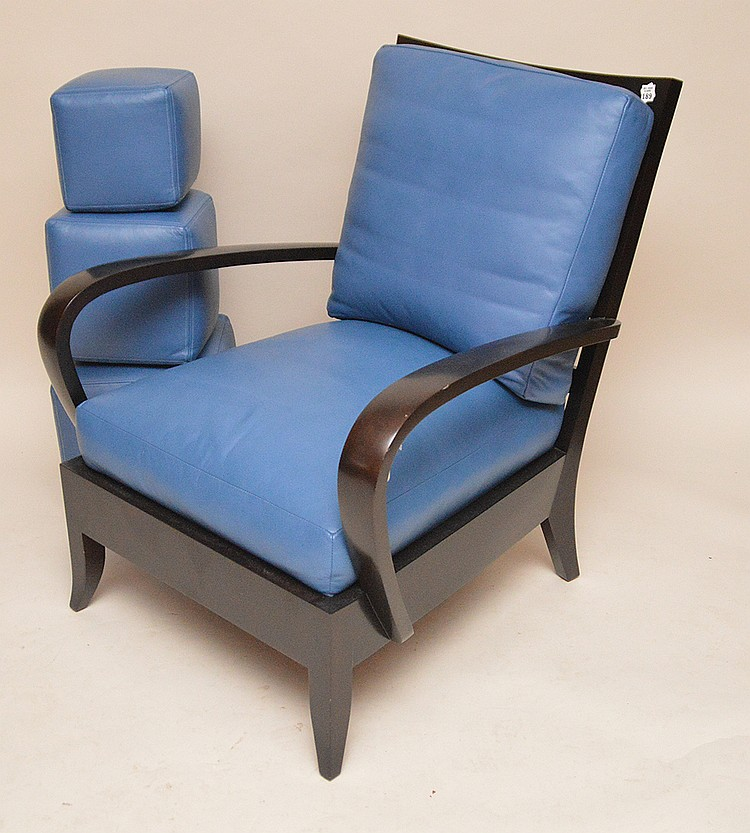Black arm Chair, blue leather seat and 3 graduated cubes, matches above 2 lots, Dakota Jackson Inc. label