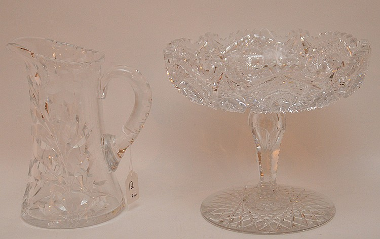Large Brilliant Cut Glass Compote. Ht. 8 3/4