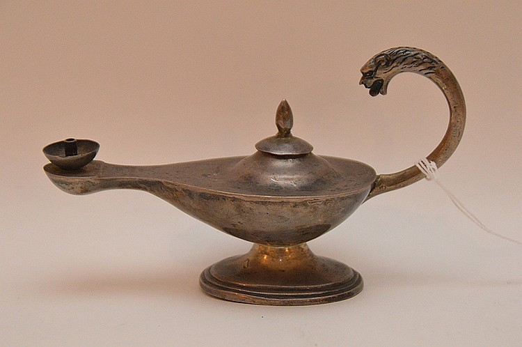 Sterling Silver Oil Lamp.  Lth 6