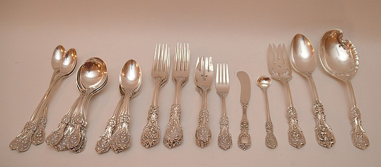 32 Piece Francis I Sterling Silver Partial Service. 6 Soup Spoons Lth. 6