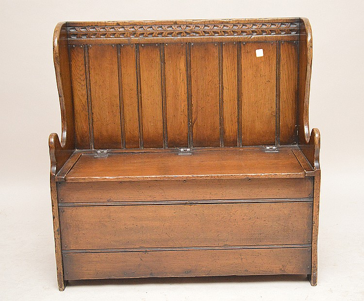 Small carved oak deacons bench, 36