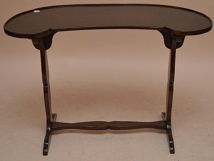 Kidney shape trestle style table, 27