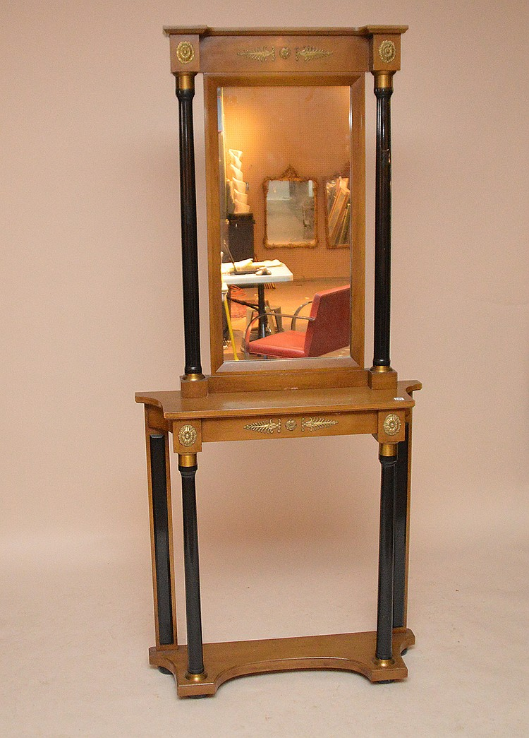 Light color mahogany console and mirror, 36