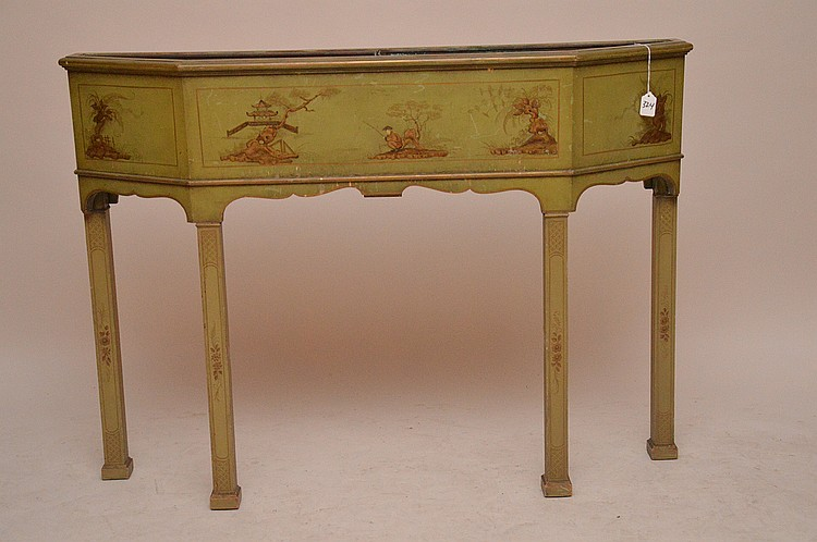 Green chinoiserie planter, 34