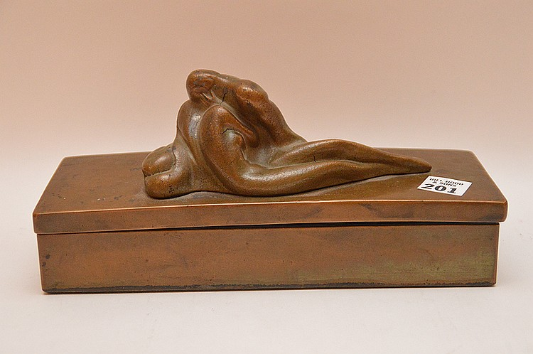 Bronze divided covered box with reclining nude, McClelland Barclay, 2