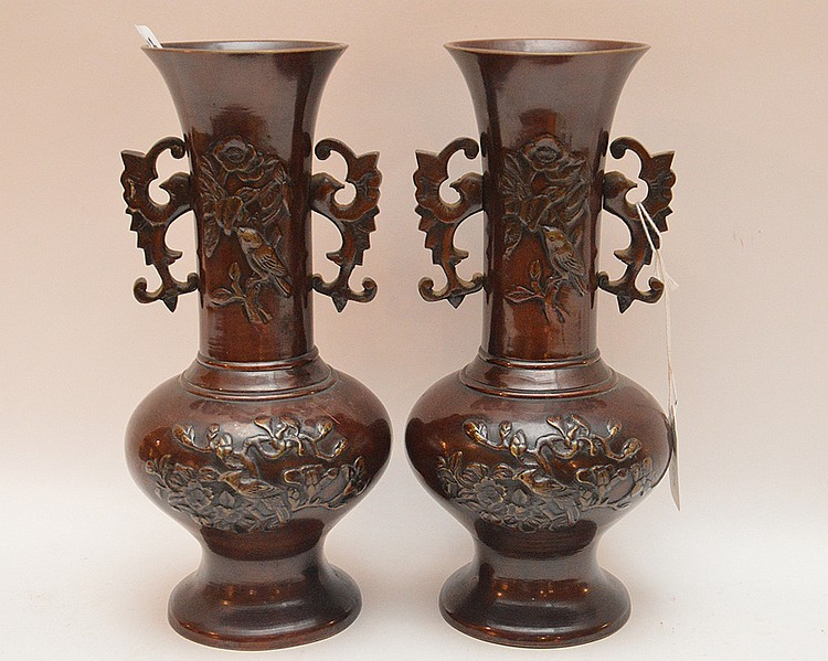 Pair of oriental bronze 2 handled vases, heavily decorated, 9 3/4