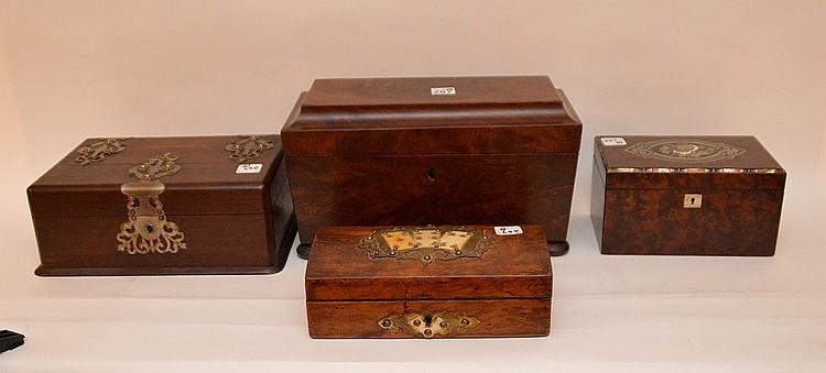 4 wood boxes, (1) card box (3