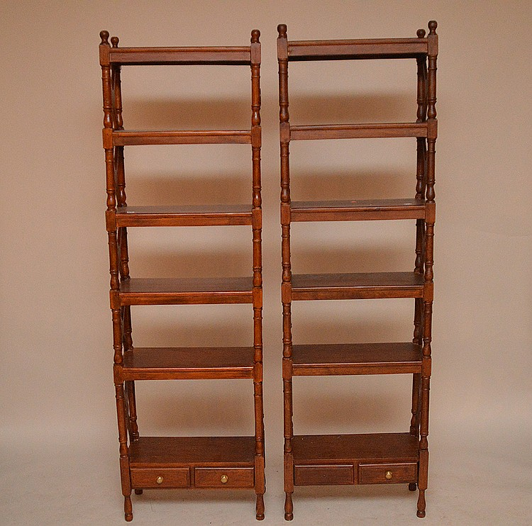 Pair Chinese Chippendale style bookcases, 2 drawers at bottom, 6