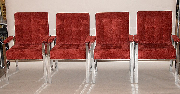 4 Mid Century Modern Milo Baughman red color velour steel arm chairs, no apparent markings, 37
