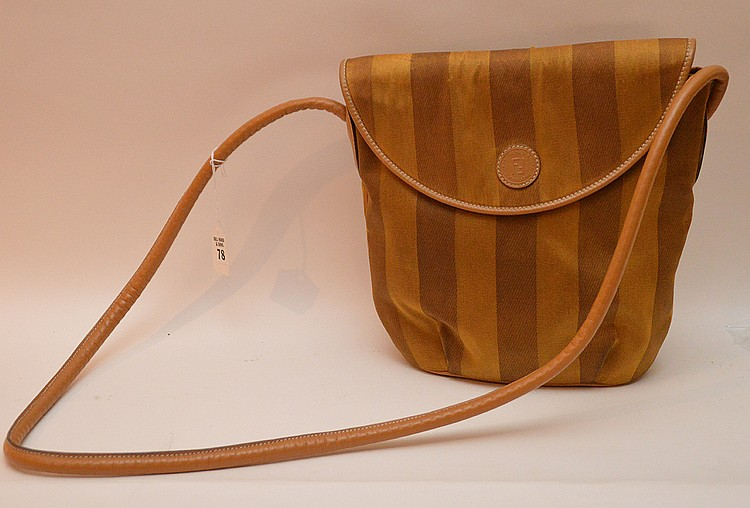 Rare Fendi Brown/Caramel Silk Purse/Bag with Kid leather cord in good condition. Fendi inside plaque reads Fendi SAS Roma made in Italy, #10-8 13422. Fine condition inside. Very small line mark on flap. Size: 10 1/2