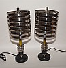 Pair modern table lamps with bakelite columns, 15
