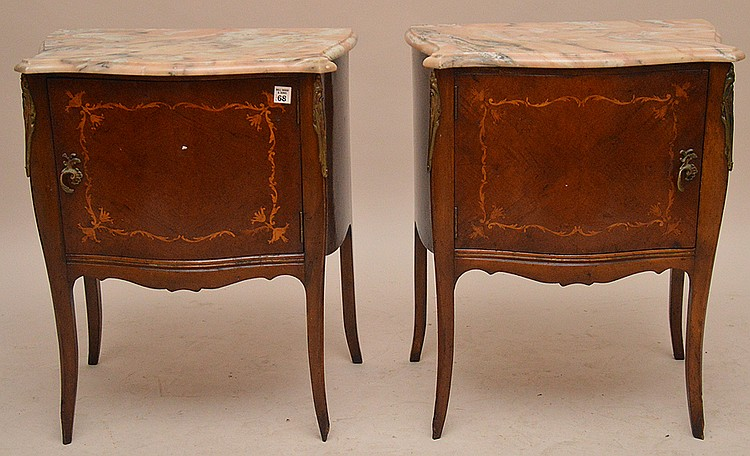 Pair French cabinet end tables, marquetry design on single door with gilt metal mounts, 25