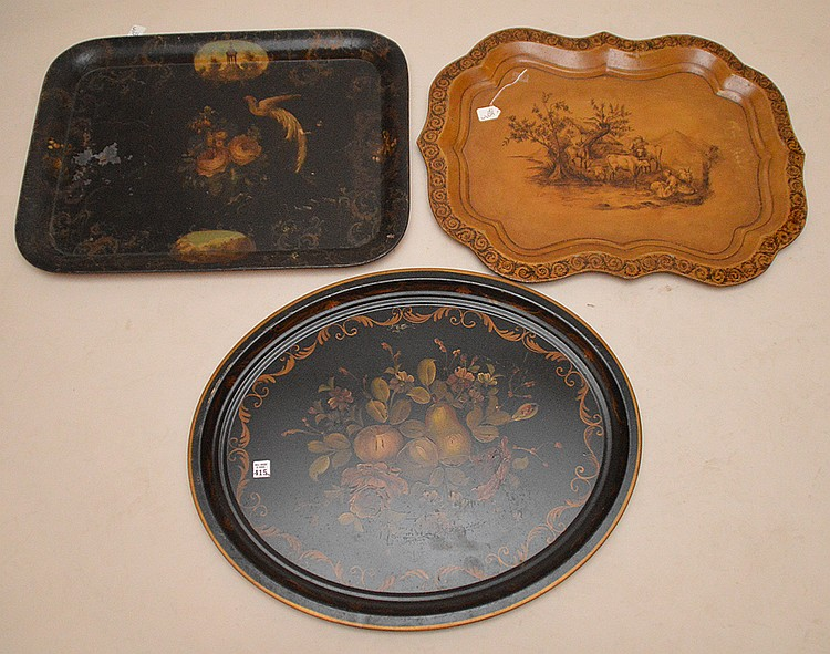 Lot 3 Vintage Tole Trays. 1 Oval black with fruit center 23 1/2