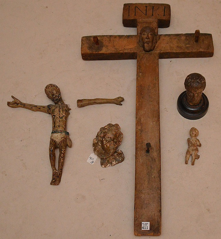 5 pieces, 18th & 19th c. carved religious artifacts