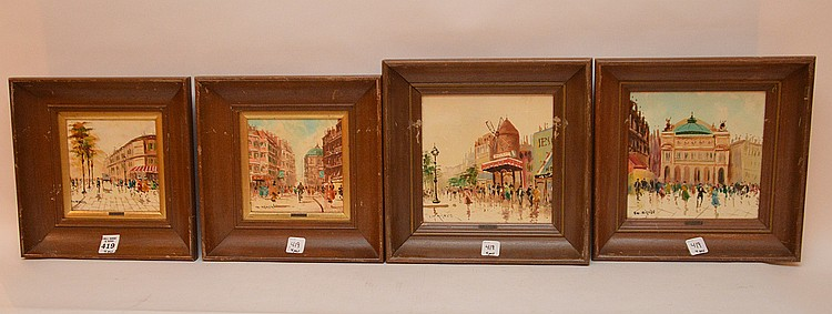 4 Framed Painted Charles Nicoise Tiles each with French street scene. 7