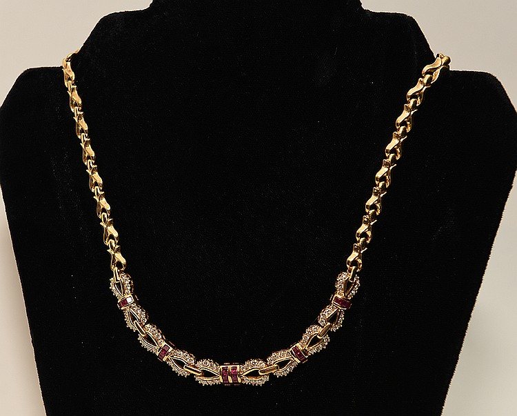 18K Yellow Gold Lady's Necklace with approx. 5cts. Diamonds 1.5 Ruby accents.