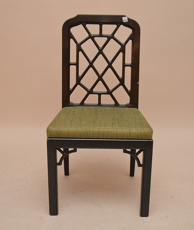 john widdicomb Black Chippendale single side chair with green seat