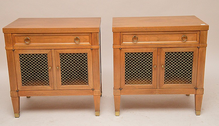 Pair light mahogany end tables with grid doors and single drawer