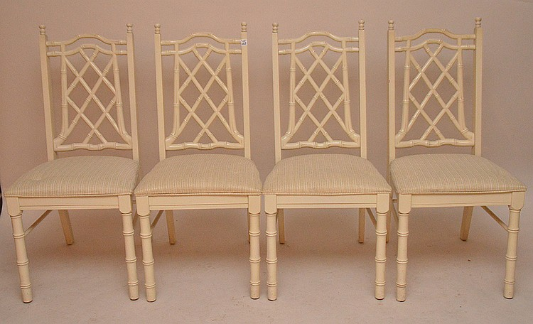 Set (4) faux bamboo style chairs, ivory color