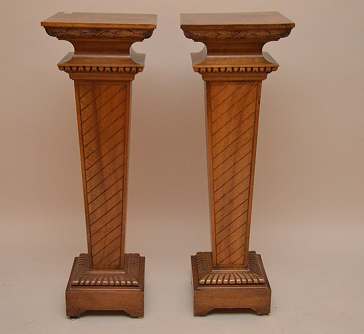 Pair carved and decorated wood pedestals, 42