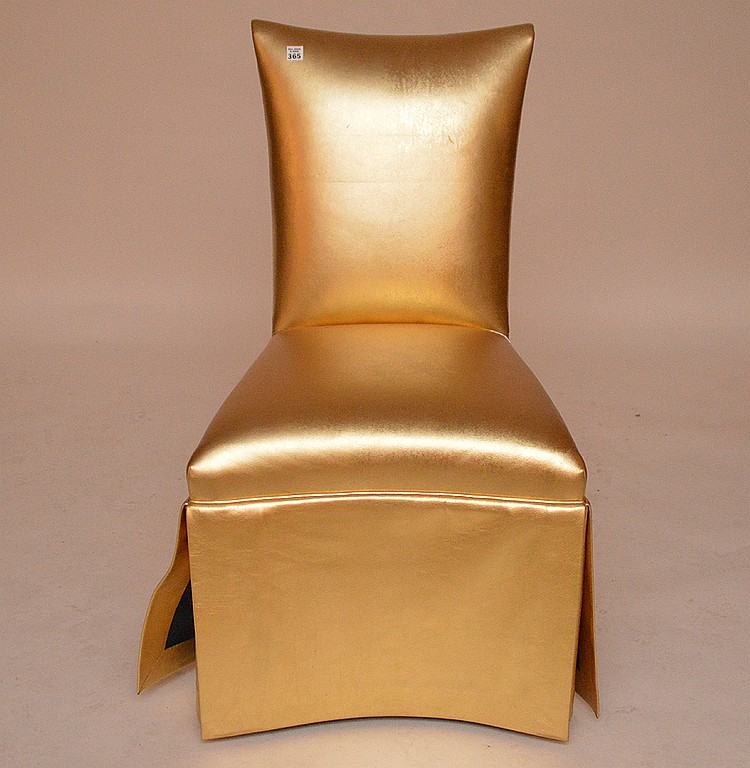 Gold leather metallic Parsons chair
