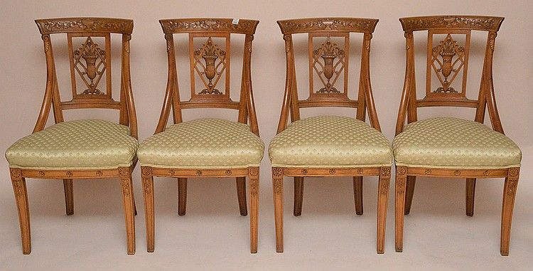 (4) carved side chairs, urn in center splat, light green upholstered