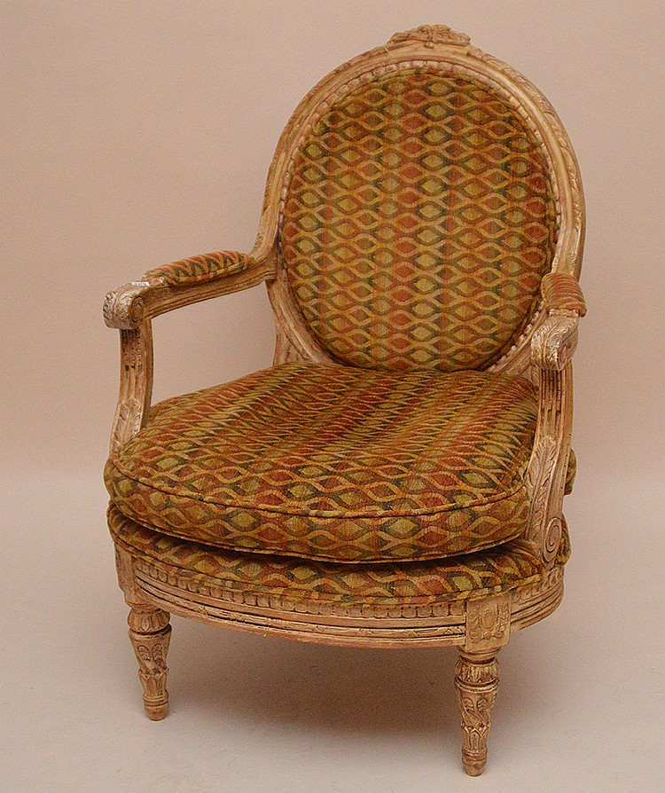 Heavily carved white washed chair frame, velour diamond pattern upholstery