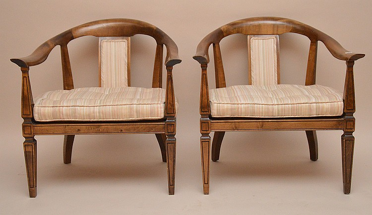 Pair mid-century arm chairs, Harvey Probber