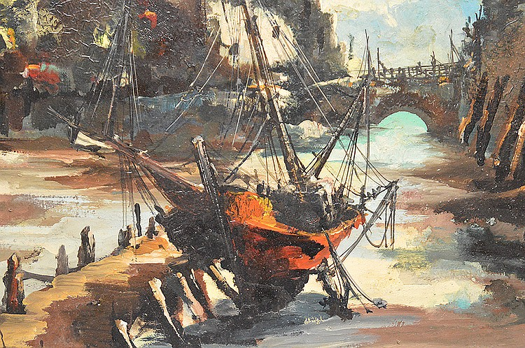 Jean Amiot (FRENCH, 20th century) oil on canvas, Port of Bretagne, 20in. x 24in.