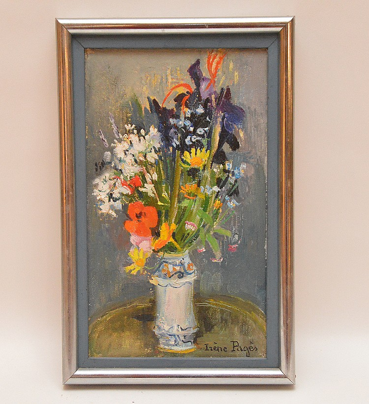 Irene Pages (FRENCH, 1934) Oil on canvas, flowers in a vase, 10-1/2inches x 6-1/2inches, 27 x 16 cm.
