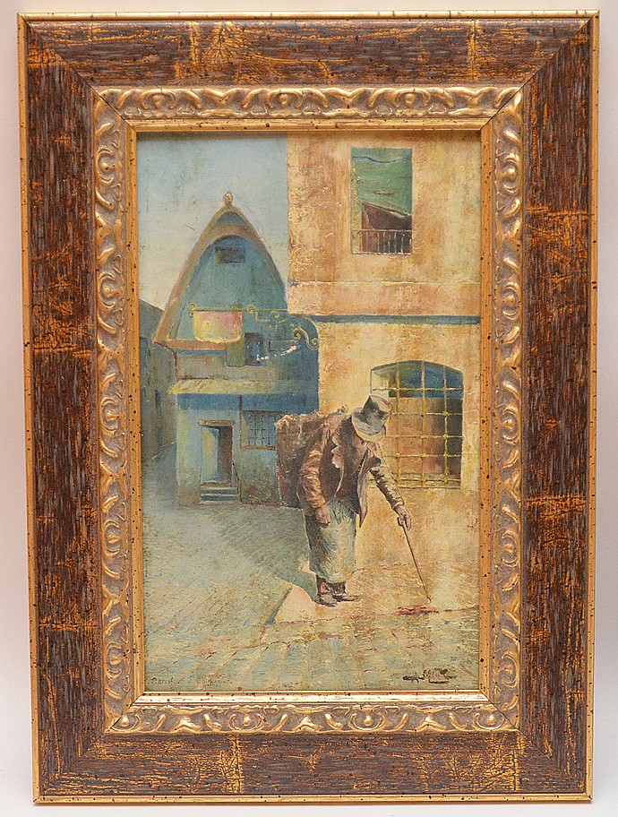 19th Century French Painting on card board, old man with a stick, signed illegibly, 12inches x 7-1/2inches