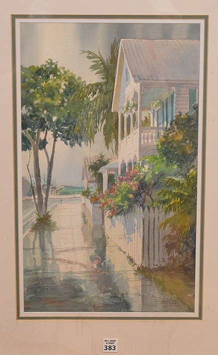Irma Quigley 20th Century, Watercolor Key West Street, 19-1/2inches x 11-1/2inches sight