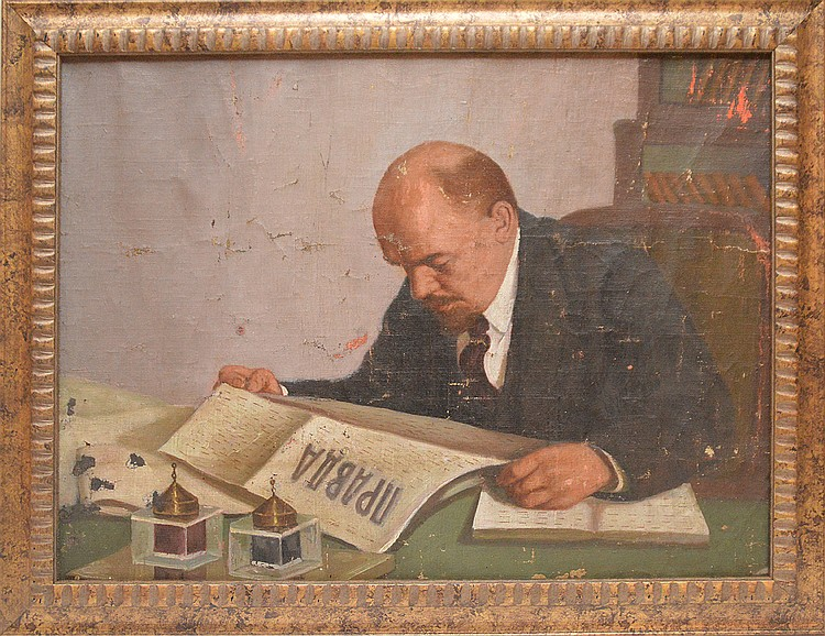 Russian 1920's Vladimir Lenin oil on canvas, no visible signature, 19in. x 25in.