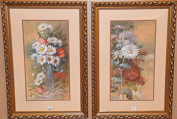 "Pair (2) PIERRE CONNELLY, French/American 1841-1932, ""Floral Still Lifes"", Watercolors on heavy paper, both 22"" x 11 11/2"" and signed lower right."