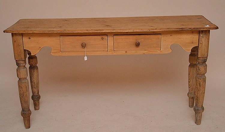 Pine console with 2 side by side drawers, 28