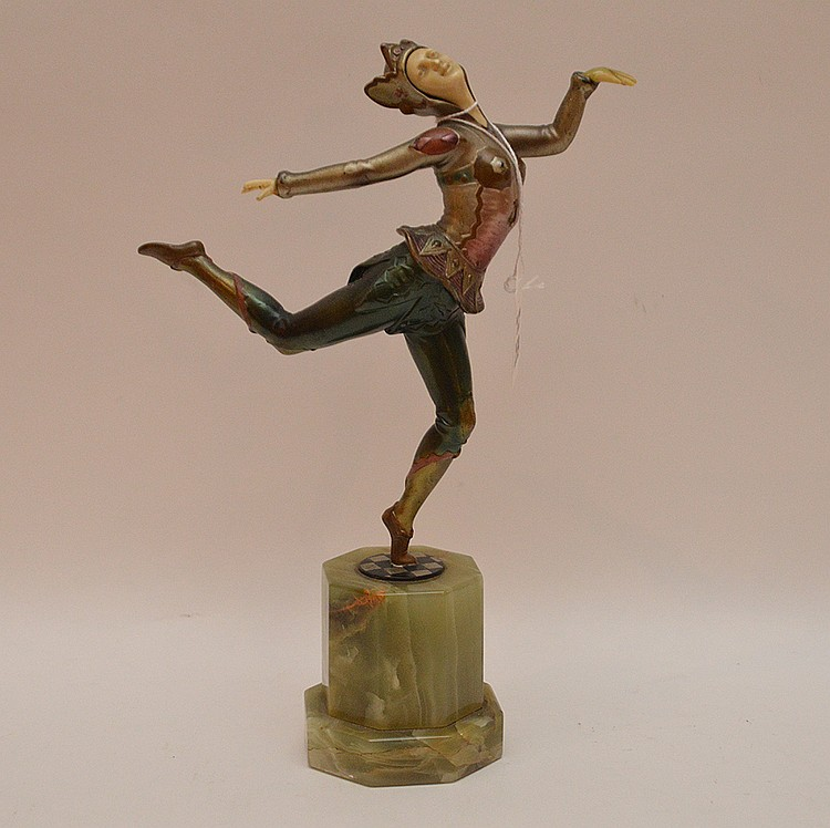 Deco dancer on marble, 10 5/8