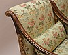 Pair Grecian style gilded wood arm chairs with celadon tone and floral silk upholstery