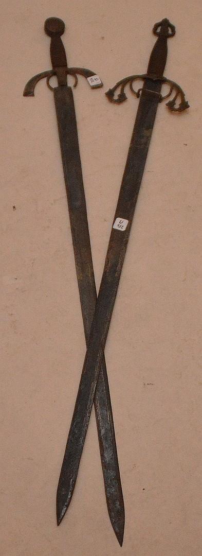 "Old Pair of Revival Medieval Long Swords. L 47"" & 48""."