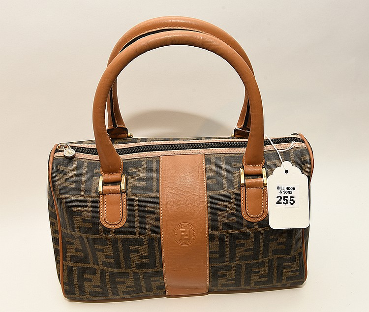 Fendi Satchel Bag Monogram Speedy Logo, Brown, Italy. Inside Logo