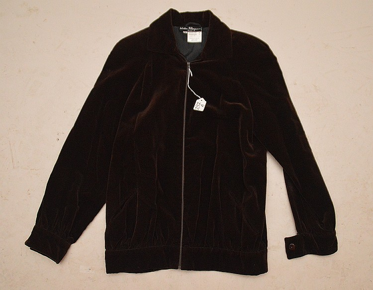 Fine Salvatore Ferragamo Silk Velvet Fall & Spring Jacket, Made in Firenze, Italy. Nice rich brown mink color in fine condition, size small, shoulder to shoulder 17