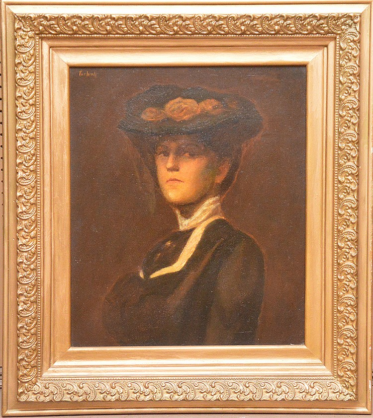 Edmund Charles Tarbell (American, 1862-1938), oil on canvas, Portrait of a women with a hat, 24inches x 20inches