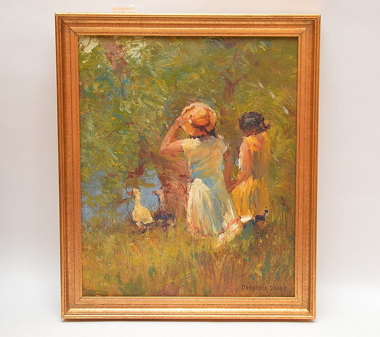 Dorothea Sharp  (United Kingdom 1874 - 1955) oil on canvas, 2 young girls watching ducks, 12inches x 10inches