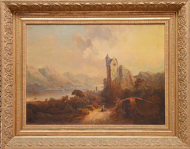 19th Century European School oil on canvas, Landscape-Castle Painting, canvas size 27inches by 20inches