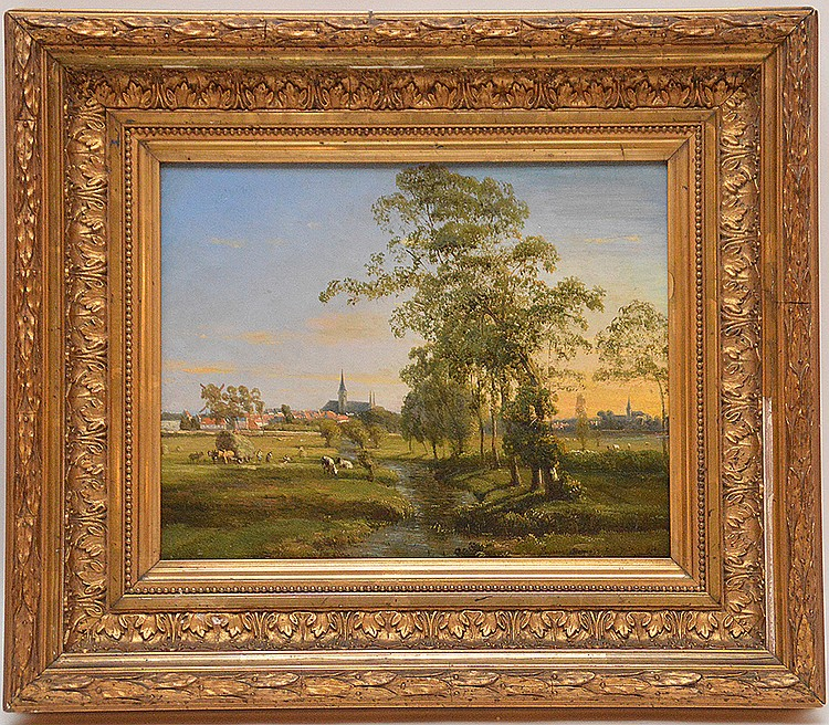 19th century European school oil on board signed illegibly, rural landscape, approx. 8inches x 10inches