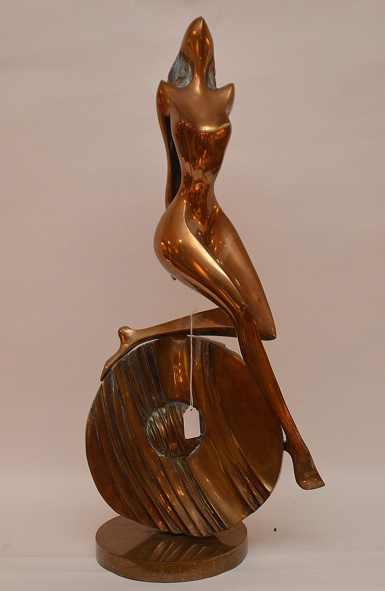Bronze Sculpture by A. Fiorese depicting a nude woman 4/100.  Ht. 29