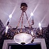 French Bronze & Glass 6 Light Fixture with figural swan arms.